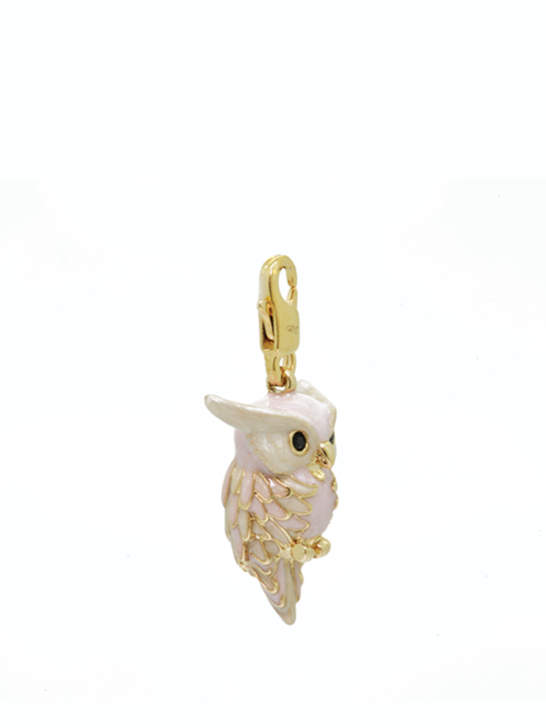 pearly owl gold charm