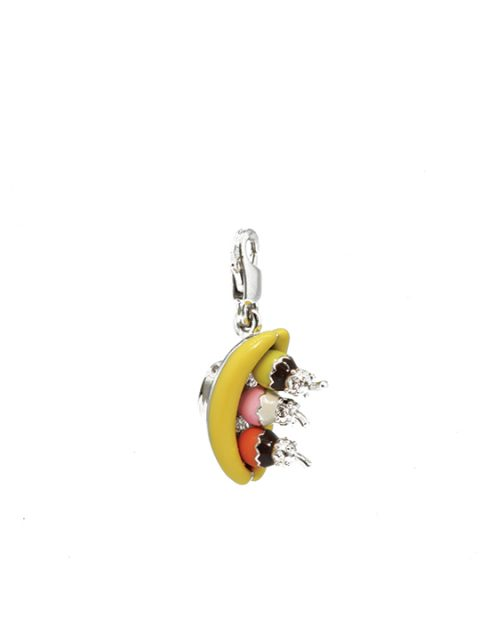 Banana split rhodium charm