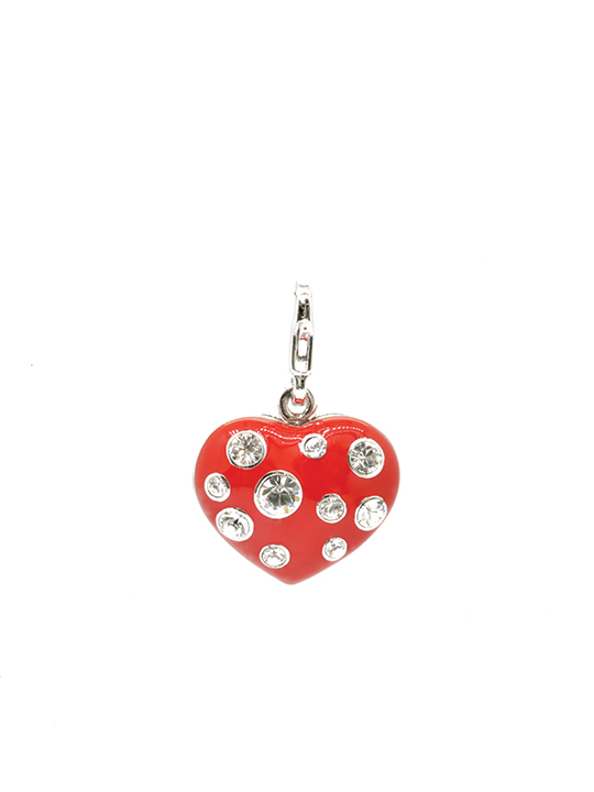 Big red heart rhodium charm