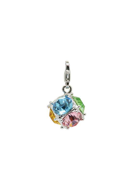 multicolor crystal ball rhodium charm