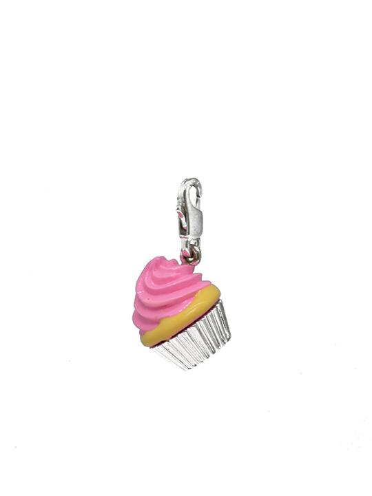 Pink cupcake rhodium charm