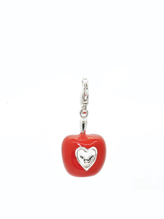 Love apple rhodium charm
