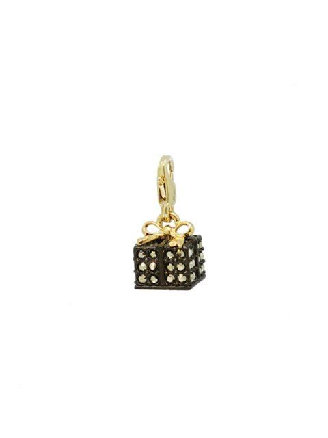 Black gift box gold charm