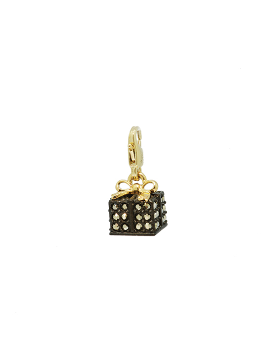 Black gift box gold charm