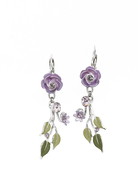 Purple Flora Fauna Rhodium earring