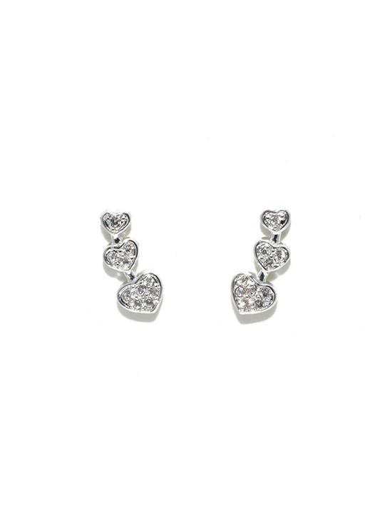 Triheart rhodium earring stud
