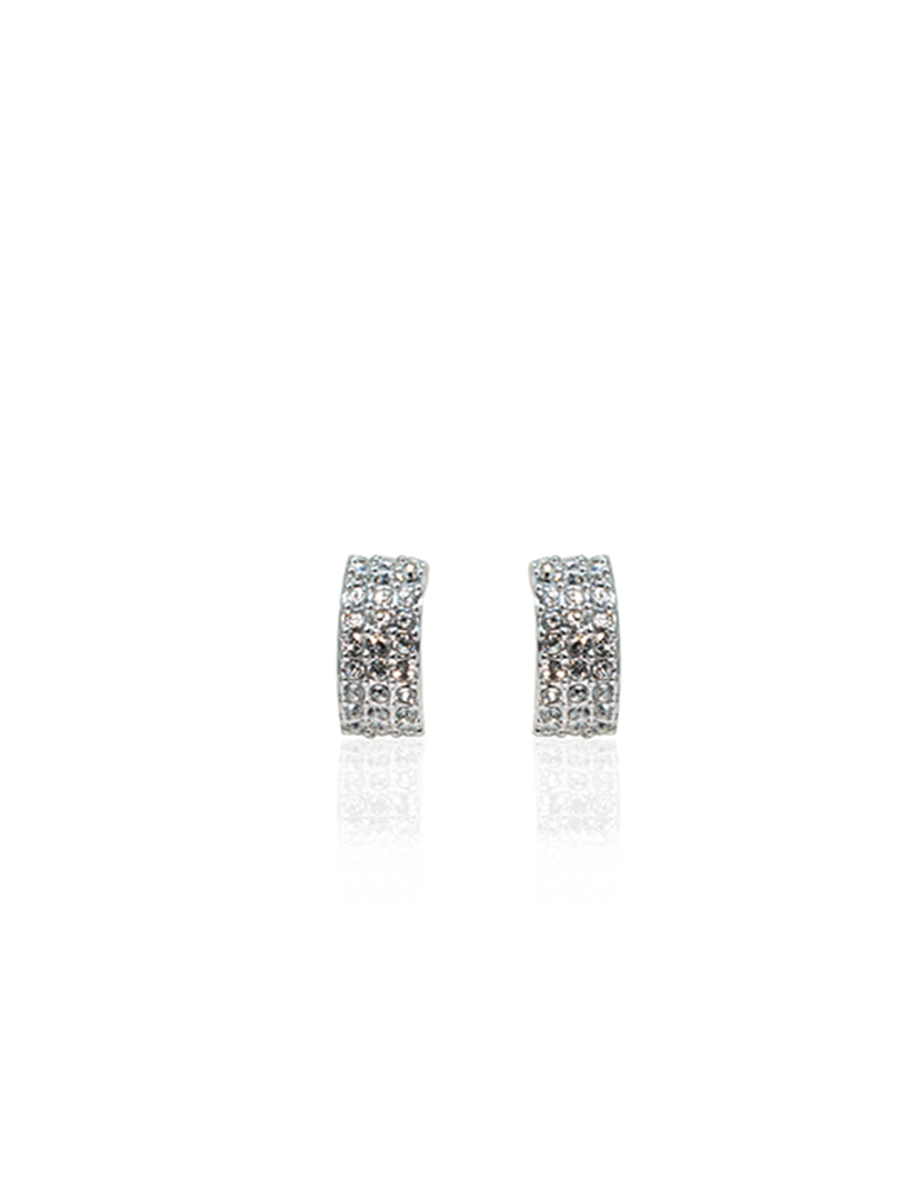 semicle rhodium earring