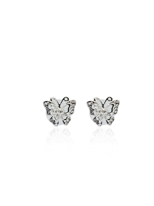 Butterfly rhodium earring