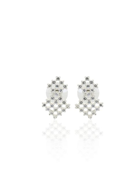 honeycombers rhodium earring