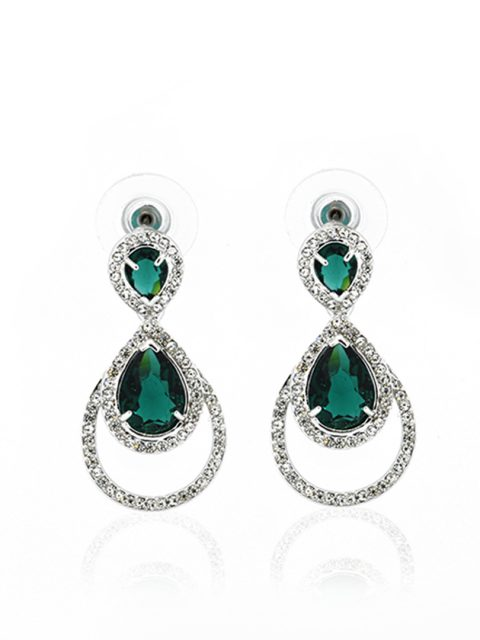 Emerald Queen rhodium earring