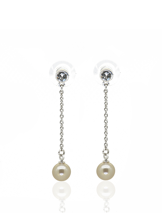Peachy Pearl Dangling Rhodium Earring