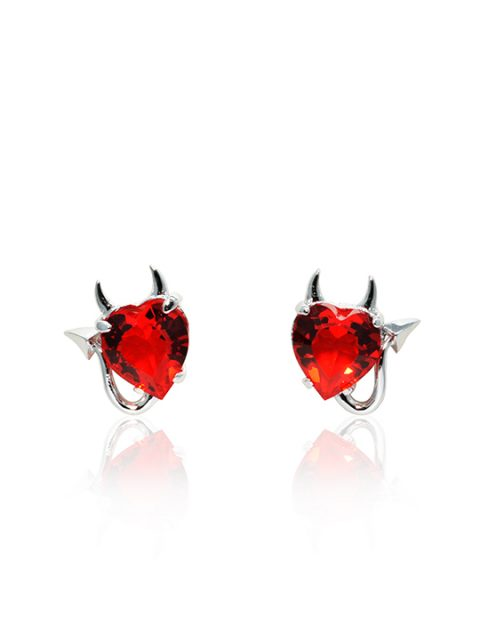 Valentine Devil rhodium earring