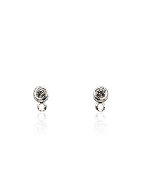 charm rhodium earring studs