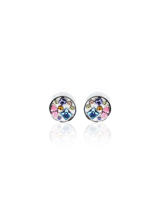 multi-col crystal round rhodium earring