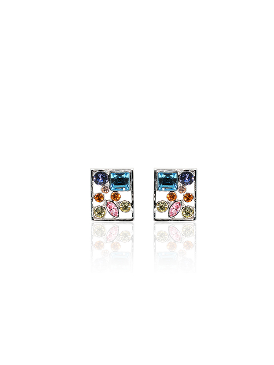 multi-col crystal square rhodium earring