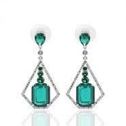 Ms Edgefield Emerald Rhodium Earring
