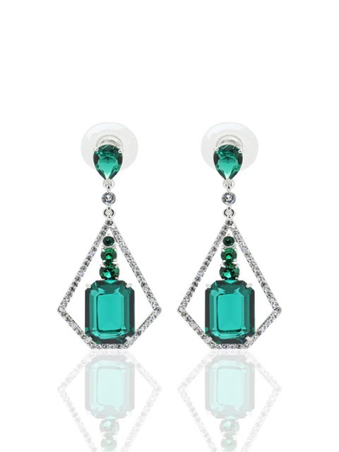 Ms Edgefield Emerald Rhodium Earring