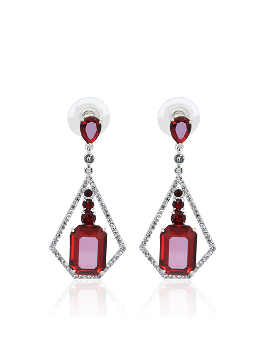Ms Edgefield Siam Rhodium Earring