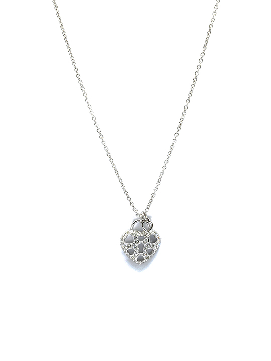 heart locket rhodium necklace