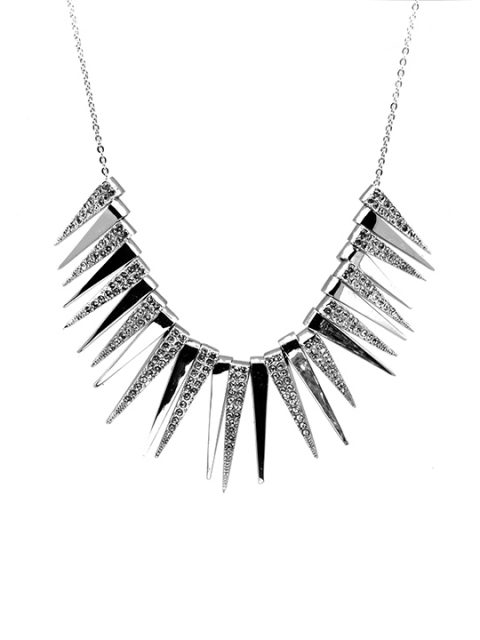 The Spikes Rhodium Necklace