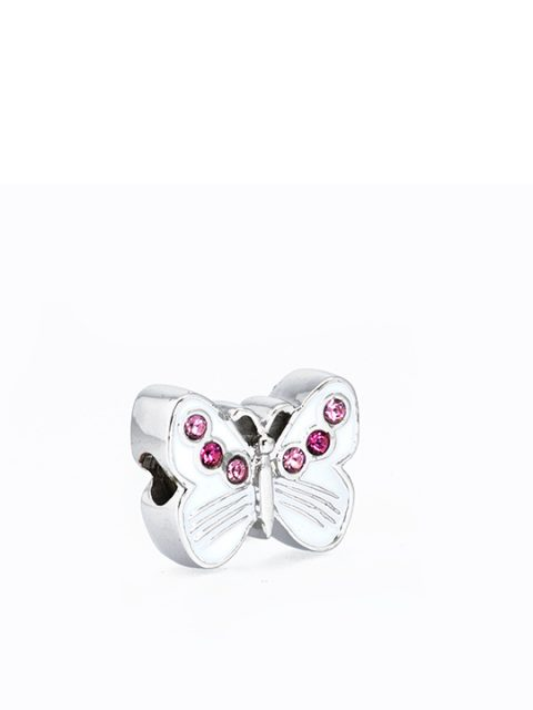 butterfly Rose rhodium becharmed sideview