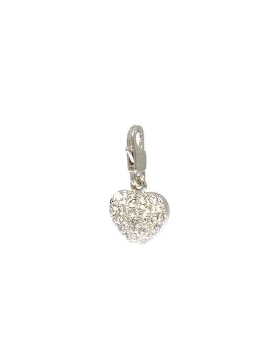 bejeweled heart rhodium charm
