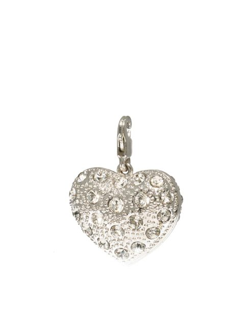 Bejeweled heart maxi rhodium charm