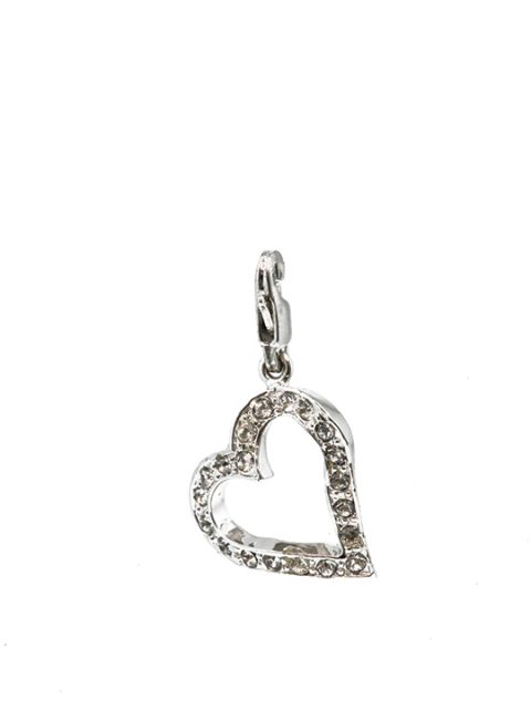 heart imprint rhodium charm