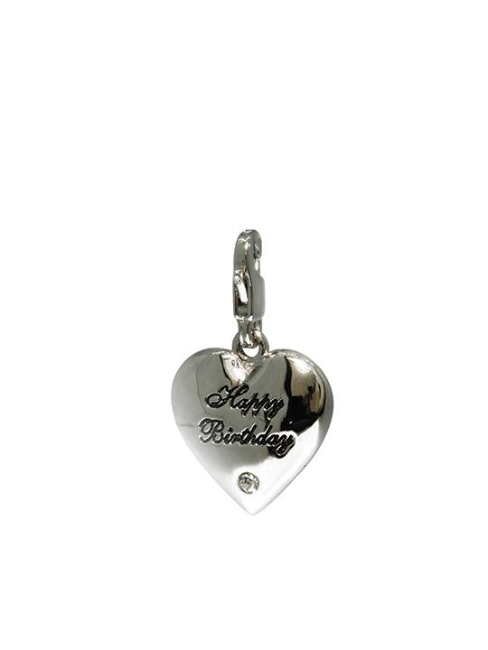 happy birthday chrome heart rhodium charm