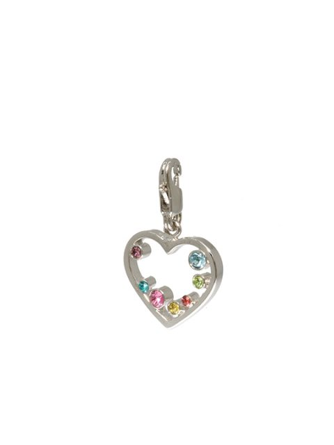 multicolor cut-out heart rhodium charm
