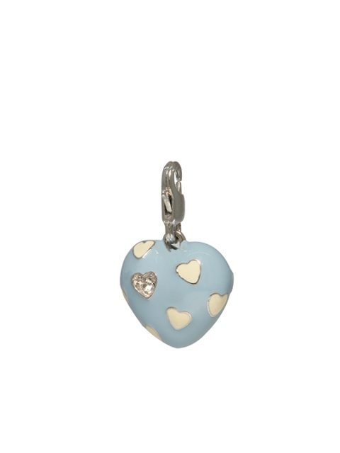 baby blue heart rhodium charm