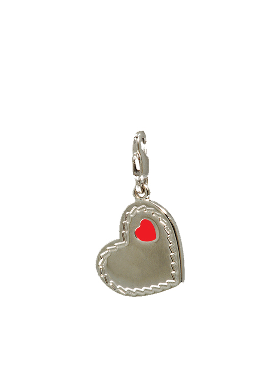 plated heart in red rhodium charm