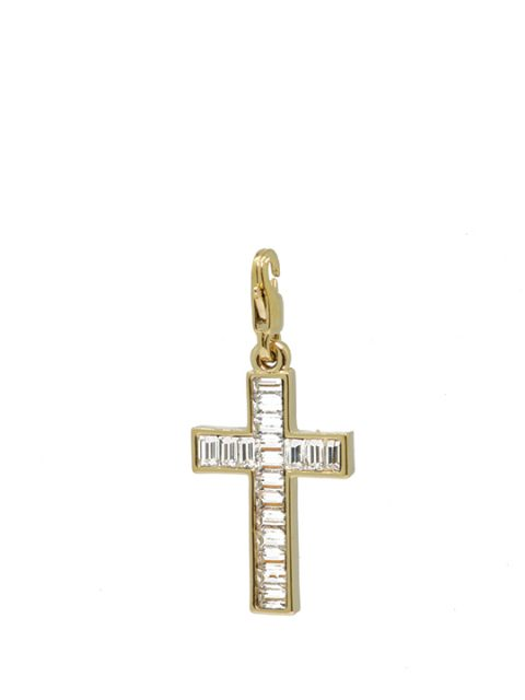 classic cross crystal maxi gold charm