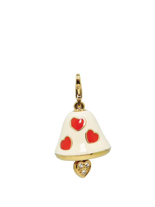Christmas bell polka heart gold charm