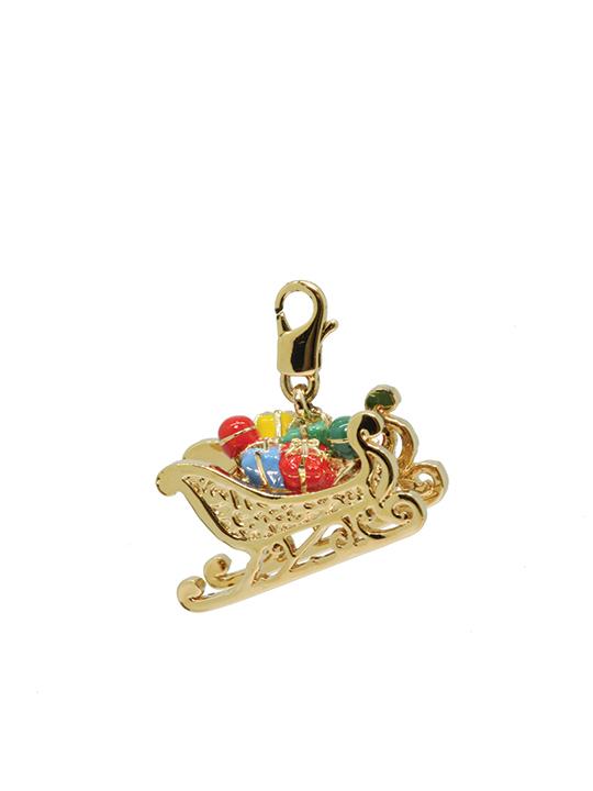 santa's sleigh gold charm