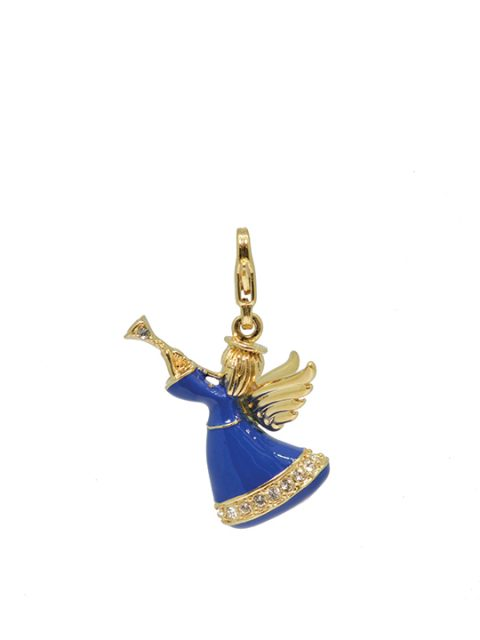 trumpet angel blue gold charm
