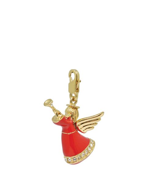 trumpet angel red gold charm