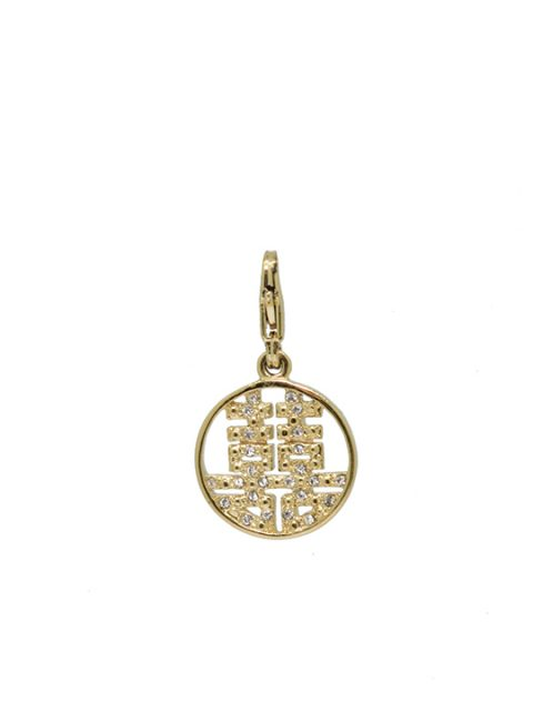 round double happiness gold charm