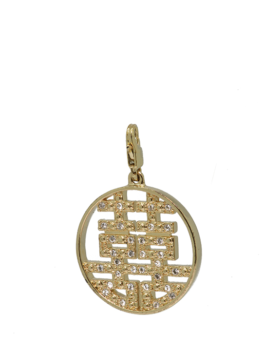 round double happiness maxi gold charm