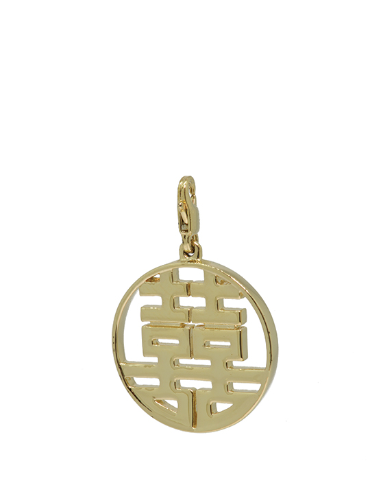 round double happiness maxi chrome gold charm
