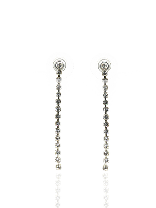 leora long rhodium earring