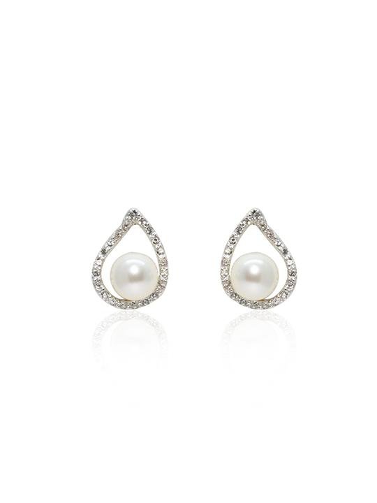 Sally Pearl Rhodium Earring