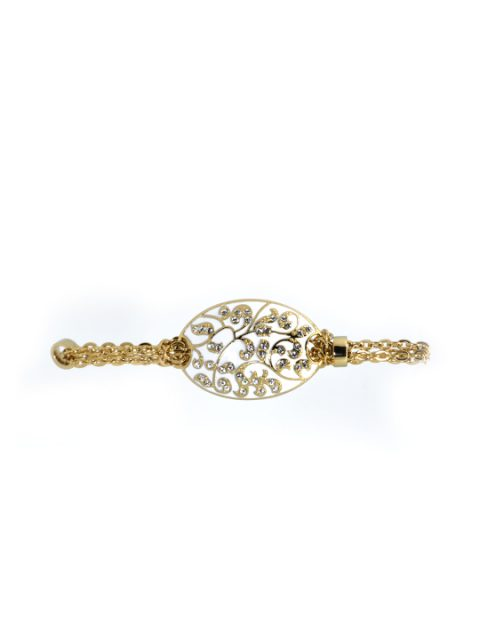 Antique flora gold bracelet white