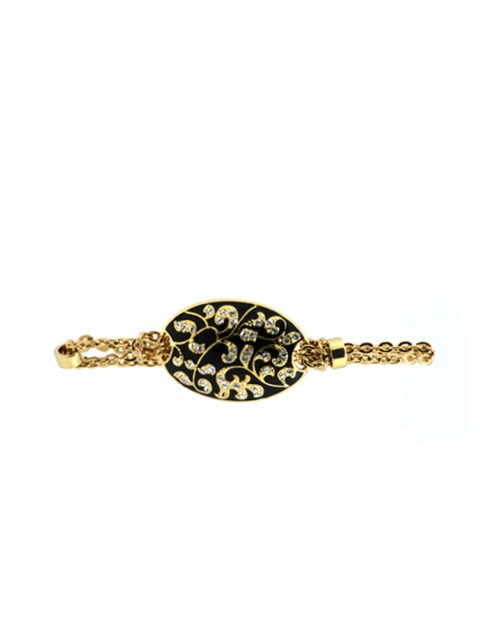 Antique flora gold bracelet black