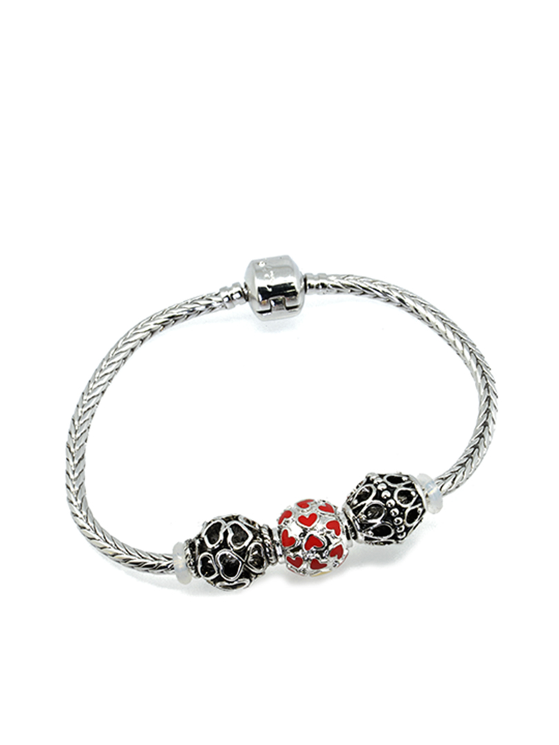 BC10063A@TUMBLING RED HEARTS BRACELET