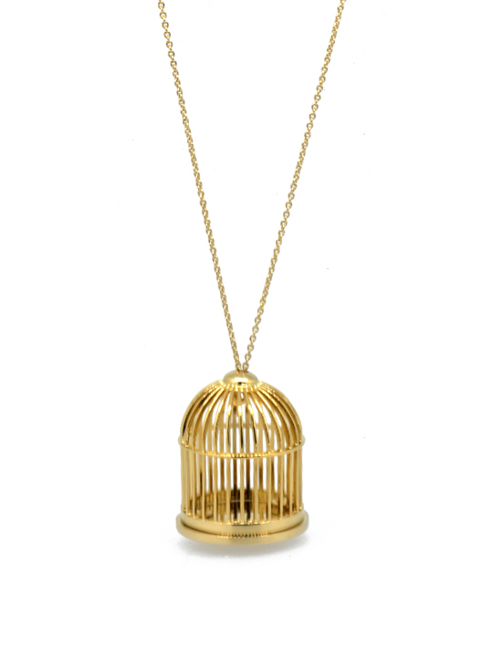 golden birdcage necklace